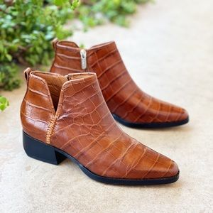 Franco Sarto Asti Croc Leather Ankle Boots